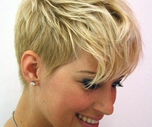 androgynous, hairstyle, and pixie cut image