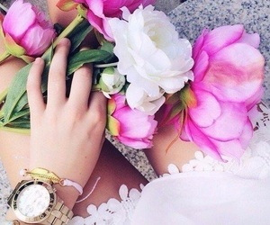 flowers, pink, and watch image