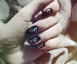 hearts, nailsart, and paznokcie image
