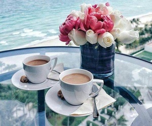 coffee, flowers, and sea image
