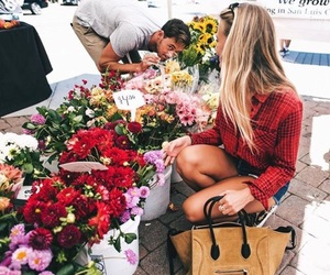 flowers, girl, and boy image