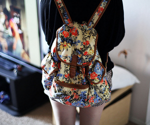 backpack, girl, and floral image