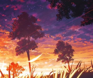 anime, sunset, and tree image