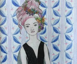 coloured pencils, drawing, and girl image