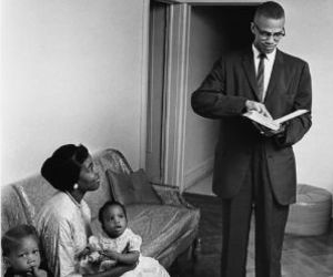 black and white and malcolm x image