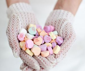 candy hearts, hearts, and valentines image