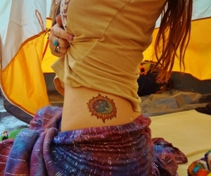 girl, hippie, and tattoo image