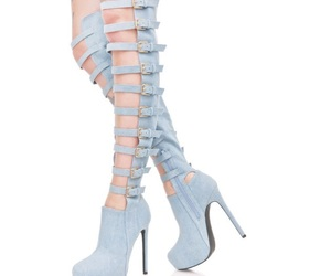 denim, jean, and thigh high boots image