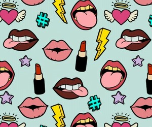 lips, wallpaper, and pattern image