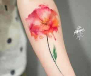 flower, orange, and tattoo image