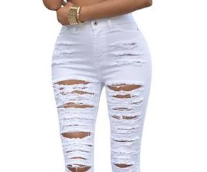high waist, jeans, and rippedjeans image