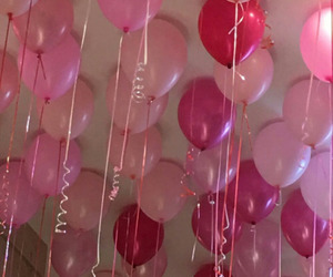 balloons, pink, and valentine image