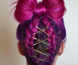 hair, pink, and style image