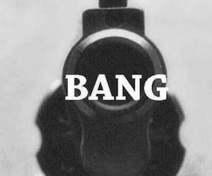 bang, gun, and black and white image