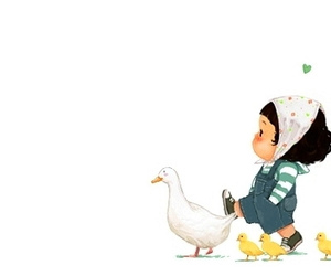 duck, girl, and heart image