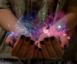 galaxy, magic, and hands image