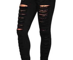 black jeans, jeans, and ripped jeans image