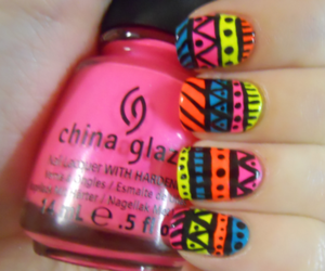 nails, neon, and tribal image