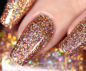nail polish, nails, and orange image