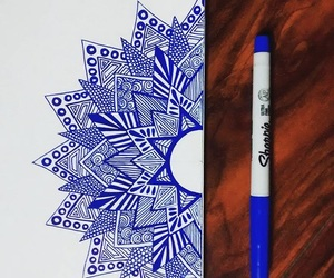mandala, art, and blue image