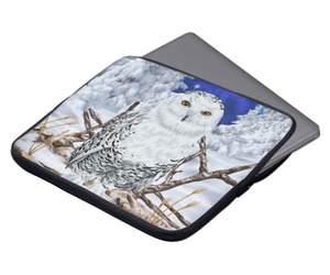 laptop sleeve, computer accessories, and snowy owl image