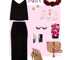 black, flowers, and Polyvore image