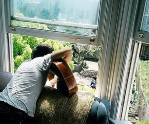 boy, guitar, and window image