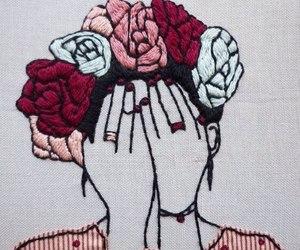 art, flowers, and frida kahlo image