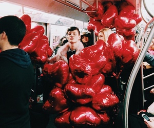 boy, balloons, and couple image