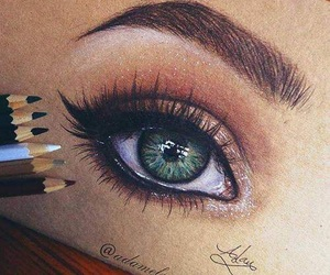 drawing, eye, and green image