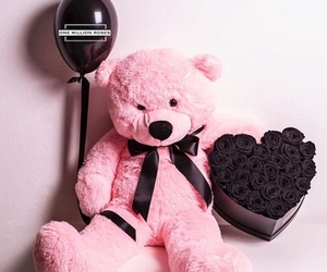 bear, couple, and pink and black image