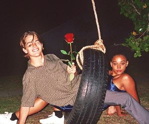 couple, 90s, and rose image