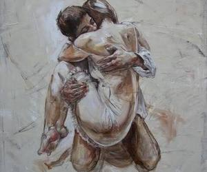art, couple, and hug image