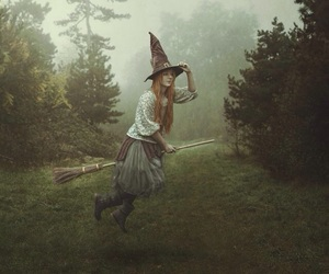 broomstick, hovering, and long hair image
