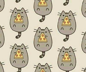 wallpaper, pizza, and cat image