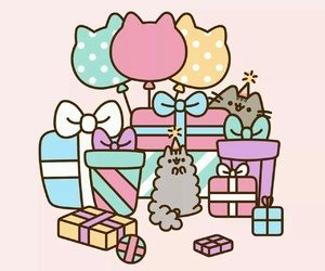 pusheen, cat, and birthday image