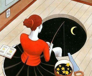 stars, moon, and art image