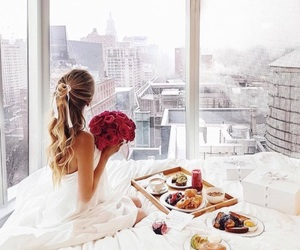 girl, breakfast, and city image