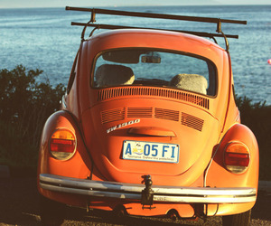 car, orange, and vintage image