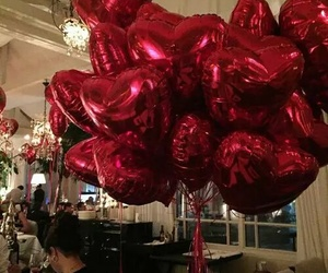 balloons, beautiful, and red hearts image