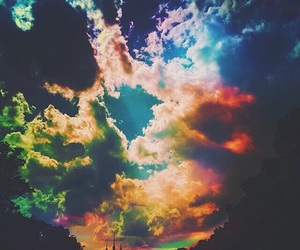 drugs, lsd, and rainbow clouds image