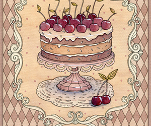 cake, art, and cherry image