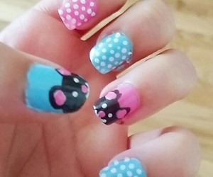 blue, dots, and manicure image