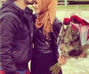 love, hijab, and flowers image