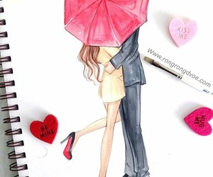 art, couple, and red umbrella image