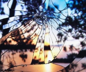 glass, sunset, and mirror image