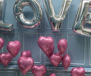 love, pink, and balloons image