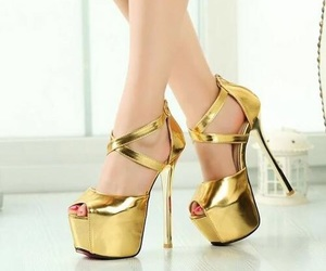 gold, shoes, and high heels image