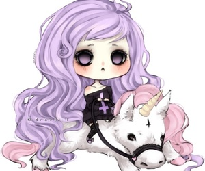 unicorn, pastel goth, and pastel image