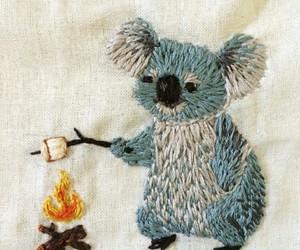 Koala, embroidery, and fire image